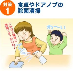 対策1:食卓やドアノブの除菌清掃